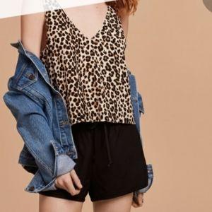 Aritzia Wilfred Kempner leopard blouse tank crop